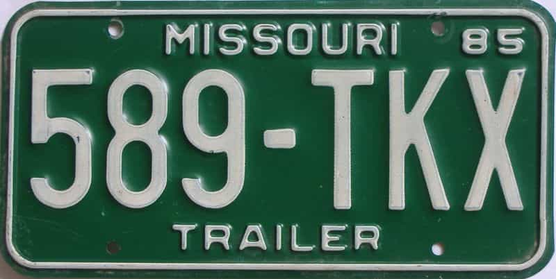 1985 Missouri  (Trailer) license plate for sale