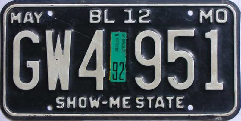 1992 Missouri  (Single) license plate for sale