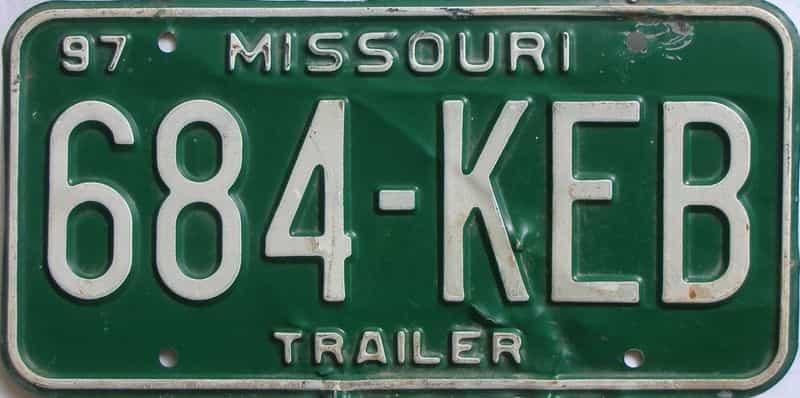 1997 Missouri  (Trailer) license plate for sale