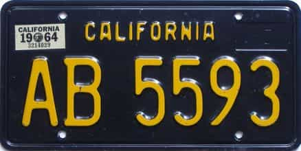 1964 California  (Trailer) license plate for sale
