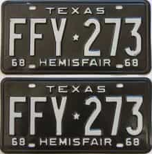 1968 Texas (Pair) license plate for sale