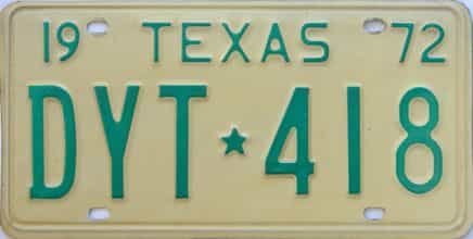 1972 Texas (Single) license plate for sale