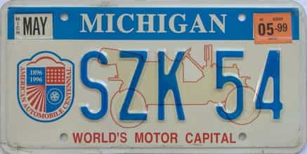 1999 Michigan license plate for sale