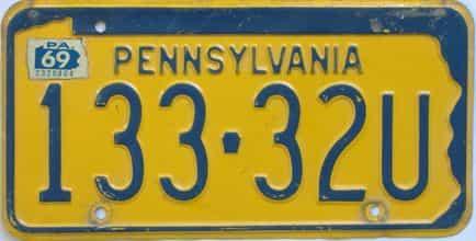 1969 Pennsylvania license plate for sale