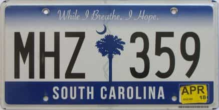 2018 South Carolina license plate for sale