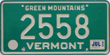 1980 Vermont  (Single) license plate for sale