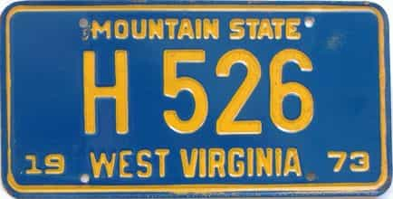 1973 West Virginia  (Non Passenger) license plate for sale