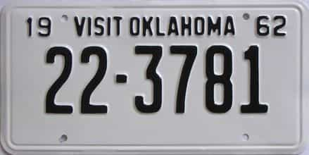 RESTORED 1962 Oklahoma license plate for sale
