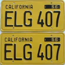 YOM RESTORED 1956 California (Pair) license plate for sale