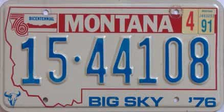 1991 Montana (Single) license plate for sale