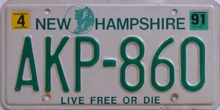 1991 New Hampshire (Single) license plate for sale