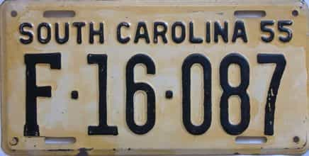 1955 South Carolina (DMV NOT CLEAR) license plate for sale