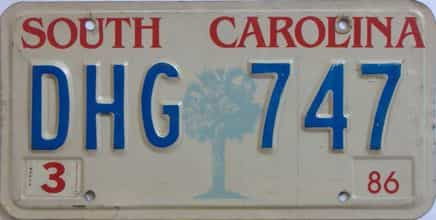 1986 South Carolina license plate for sale