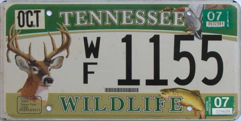 2007 Tennessee license plate for sale