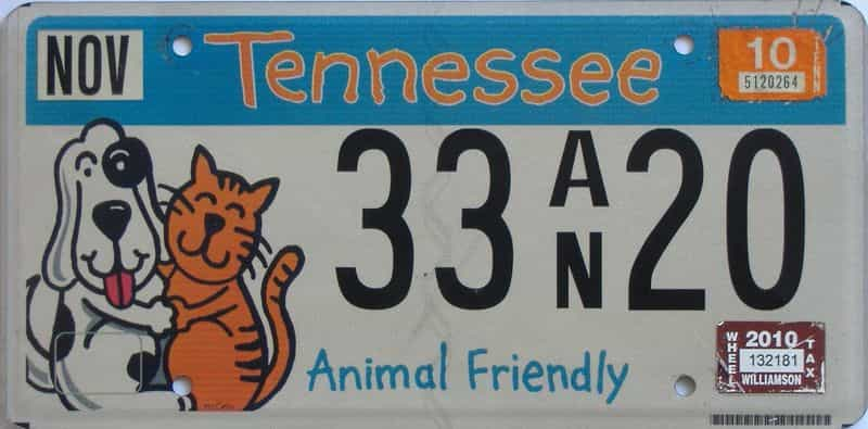 2010 Tennessee license plate for sale