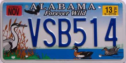 2013 Alabama (Natural) license plate for sale