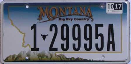 2017 Montana (Single) license plate for sale