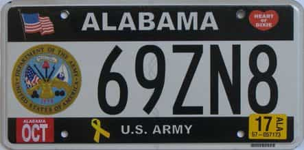 2017 Alabama license plate for sale