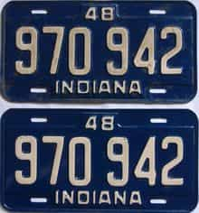 1948 Indiana (Pair) license plate for sale