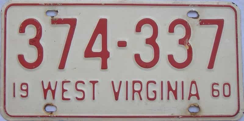 1960 WV license plate for sale