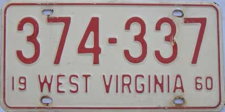 1960 West Virginia license plate for sale