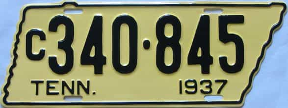 RESTORED 1937 Tennessee (Single) license plate for sale