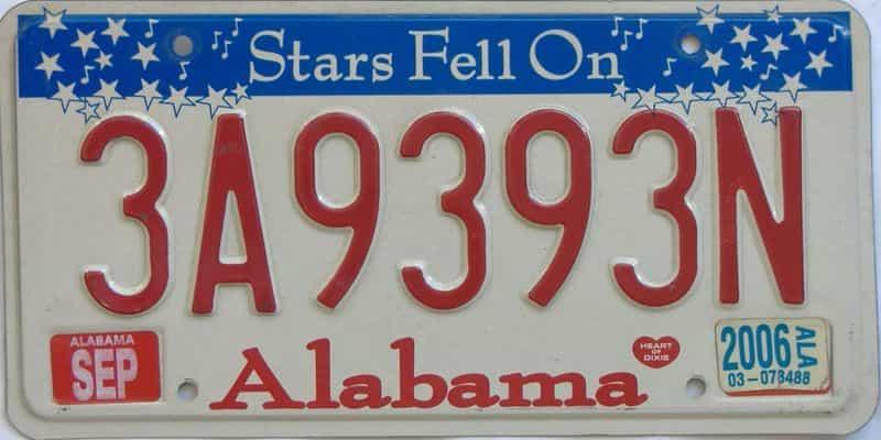 2006 Alabama license plate for sale