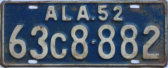 1952 Alabama license plate for sale