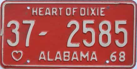 1968 Alabama license plate for sale