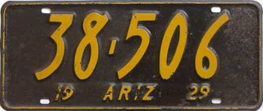 1929 Arizona (Single) license plate for sale