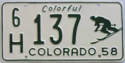 1958 Colorado (Very Nice Repaint) license plate for sale