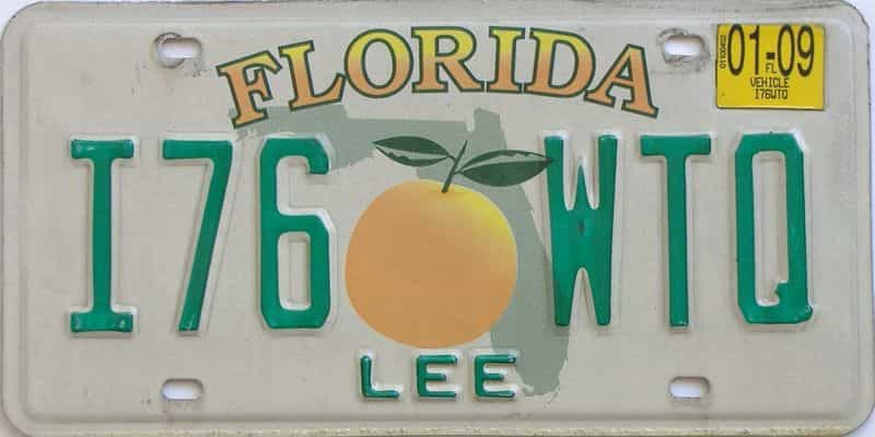 2009 Florida license plate for sale