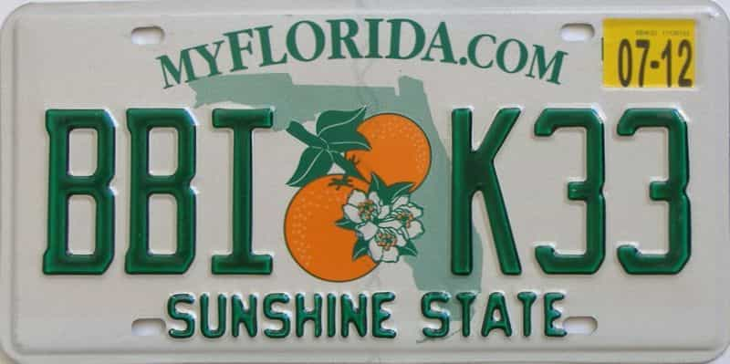 2012 Florida  (Natural) license plate for sale