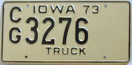1973 Iowa (Truck) license plate for sale