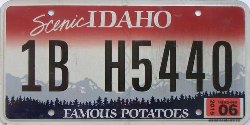 2015 Idaho  (Single) license plate for sale