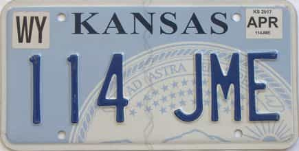 2017 Kansas (Natural) license plate for sale