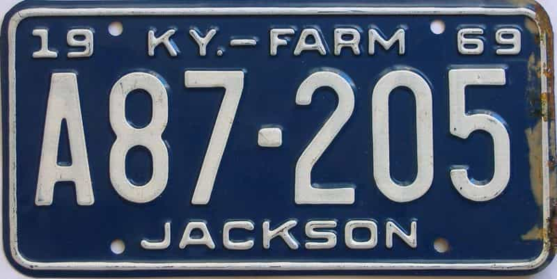 1969 Kentucky  (Farm) license plate for sale