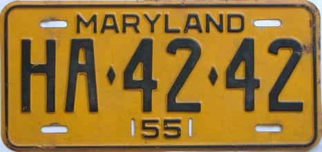 1955 Maryland license plate for sale