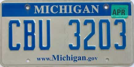 2012 Michigan license plate for sale