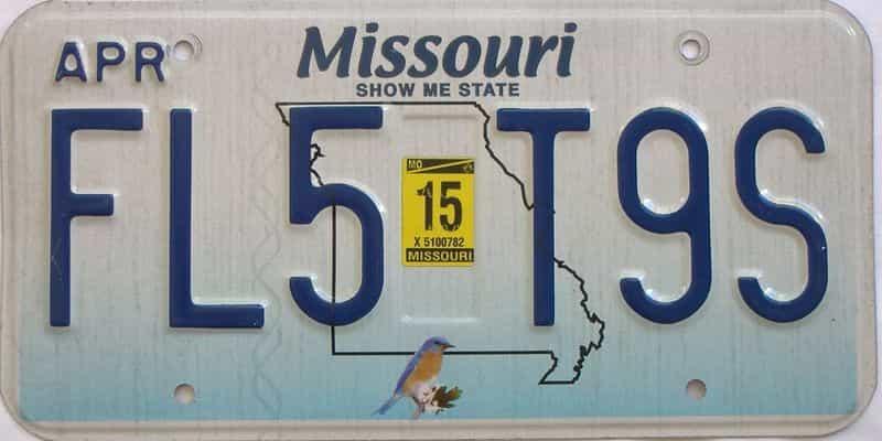 2015 Missouri license plate for sale