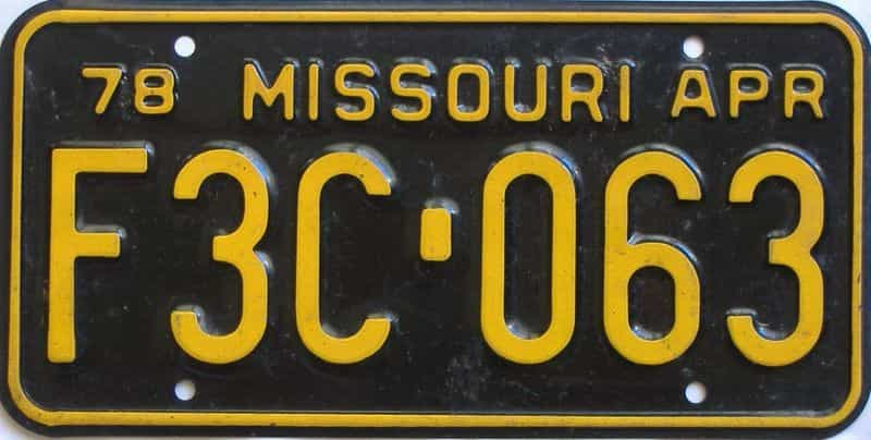 1978 Missouri  (Single) license plate for sale