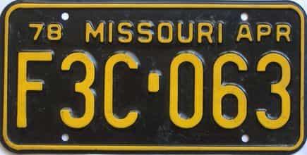 1978 Missouri (Single) license plate for sale