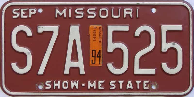 1994 Missouri  (Single) license plate for sale