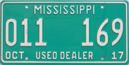 2017 Mississippi (Dealer) license plate for sale
