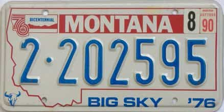 1990 Montana (Natural Single) license plate for sale