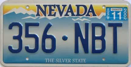 2002 Nevada (Single) license plate for sale