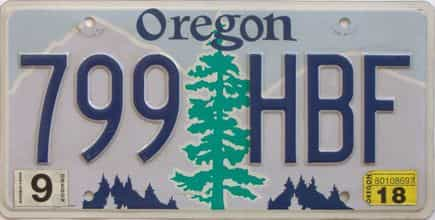 2018 Oregon (Natural Single) license plate for sale