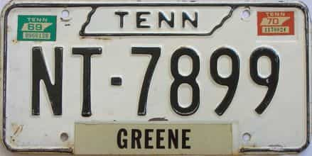 1970 Tennessee (Single) license plate for sale