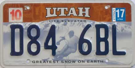 2017 Utah (Natural Single) license plate for sale