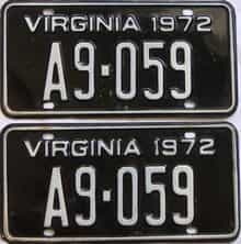 1972 Virginia (Pair) license plate for sale
